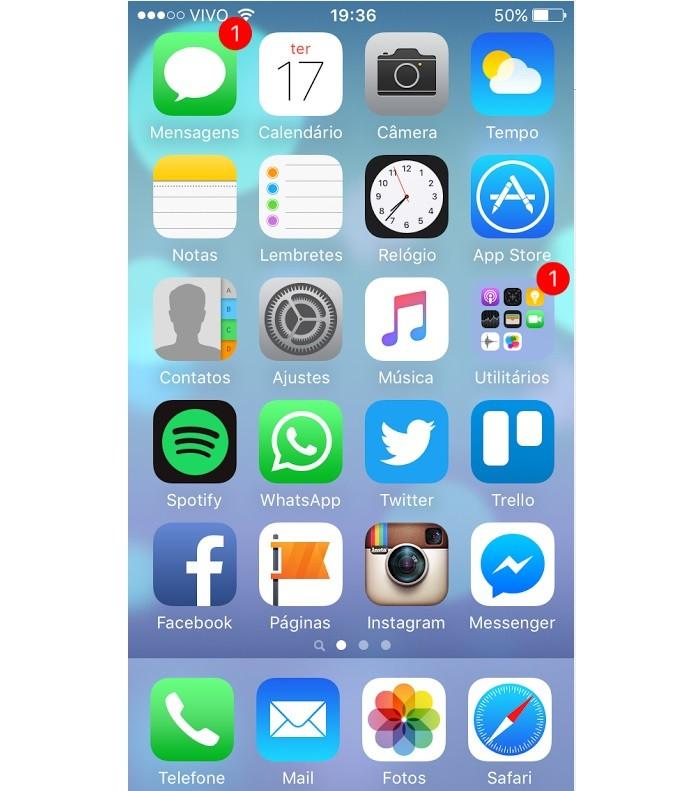 Acesse o ícone de Ajustes no menu do iOS (Foto: Reprodução/Thiago Barros)