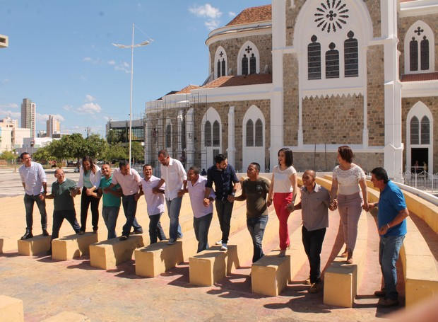 Equipes de ruas gravaram no centro de Petrolina-PE (Foto: Institucional/TV Grande Rio)