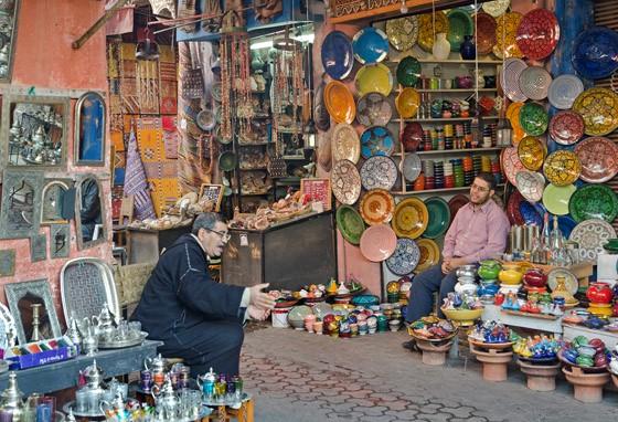 Cerâmicas do mercado de Marrakech (Foto: © Haroldo Castro/Época)