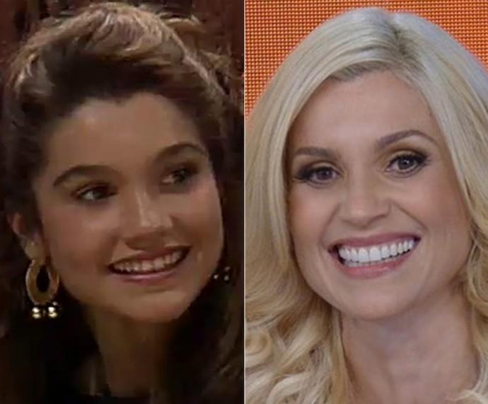 Flávia Alessandra aos 14 anos e atualmente (Foto: TV Globo e Cristina Cople / Gshow)