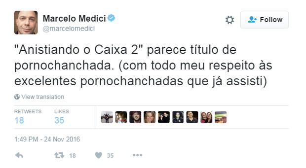 Marcelo Medici comenta anistia ao caixa 2 (Foto: Reprodução/Twitter/@macerlomedici)