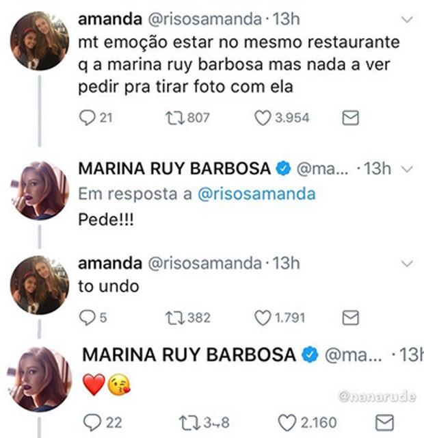 Marian Ruy Barbosa atende pedido de fã (Foto: Reprodução)