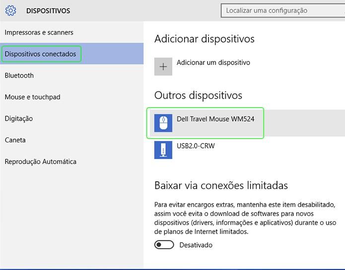 """Os dispositivos bluetooth conectados ao computador ficam listados na no menu """"Dispositivos Conectados"""" (Foto: Reprodução/Adriano Hamaguchi)"""