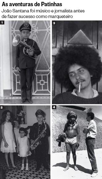 álbum de família 1. Na infância, tocando trompa na escola em Tucano, Bahia 2. Com as irmãs Márcia e Balila, em 1962 3. Em São Paulo, nos anos 1970, época em que compunha letras para o grupo Bendegó 4. Entrevistando o cacique Raoni no Xingu, em 1984 (Foto: Arq. pessoal)