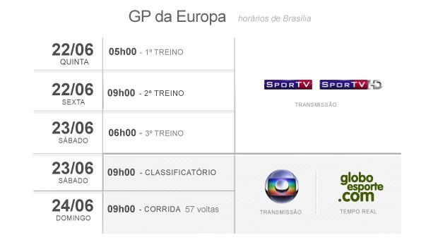horários GP da Europa Fórmula 1 f1 (Foto: Editoria de arte / Globoesporte.com)