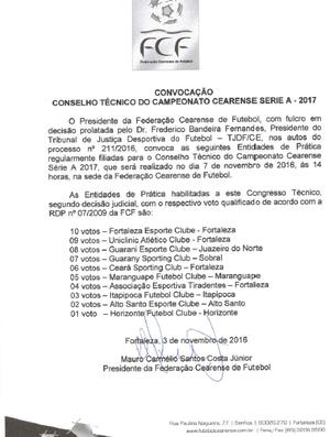 Convocação; reunião; Conselho Arbitral; FCF; Série A; Cearense (Foto: Divulgação)