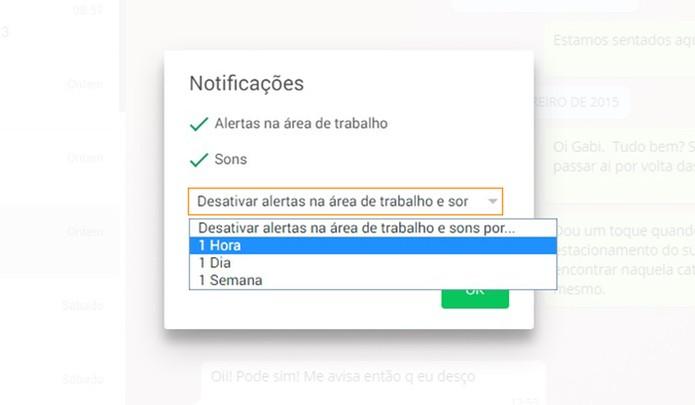 Se preferir, também é possível desativar os alertas sonoros do WhatsApp web por um tempo específico (Foto: Reprodução/Barbara Mannara)