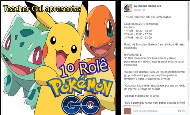 Professor de inglês de Santa Isabel, Guilherme Henriques, ganha dinheiro com roteiros para caçar pokemons (Foto: Reprodução/Facebook)