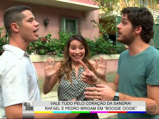 Pigossi e Loreto defendem o amor de seus personagens por Sandra (Foto: TV Globo / Vídeo Show)