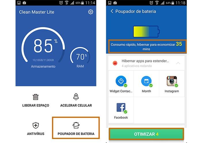Ferramenta do Clean Master Lite ajuda a economizar bateria do Android (Foto: Reprodução/Barbara Mannara)