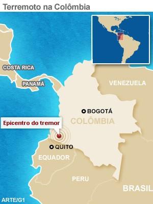 mapa terremoto colombia 9/2 versão 2 (Foto: 1)