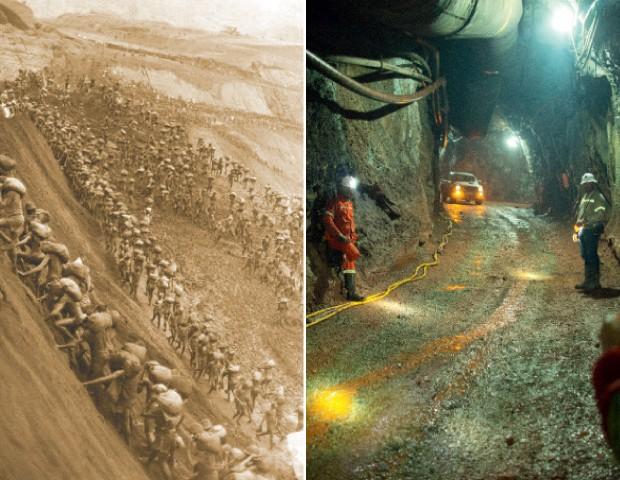 Serra Pelada em 1982 e em 2013 (Foto: Aureliano/ Estadão Conteúdo)