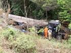 Caminhão com barras de ferro tenta evitar batida e cai em barranco no DF