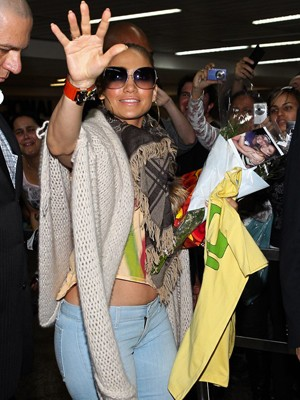Jennifer Lopez arrives in São Paulo on Friday 22 June 2012