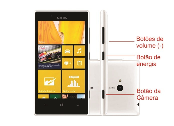 Nokia Lumia 720 pode ser restaurado a partir dos botões de diminuir volumes, energia e câmera (Foto: Arte/Divulgação)