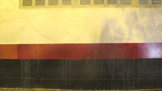muro Flamengo pintado pichação  (Foto: Fabio Leme)