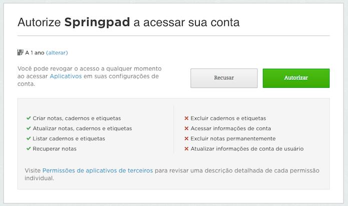 Autorizando acesso a sua conta do Evernote (Foto: Reprodução/Helito Bijora)