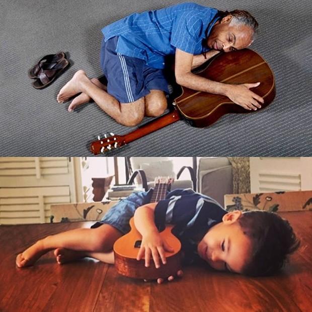 Gilberto Gil e o neto Dom (Foto: Reprodução / Instagram)