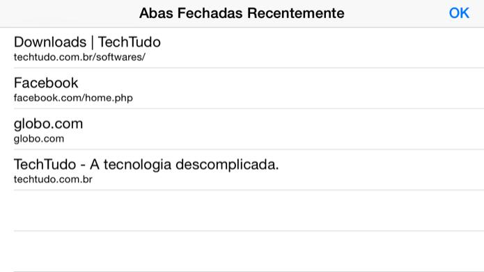 Lista de abas fechadas recentemente (Foto: Reprodução/Helito Bijora)