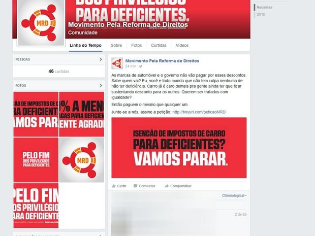 Grupo se intitula como Movimento pela Reforma de Direitos' (Foto: Reprodução / Facebook)