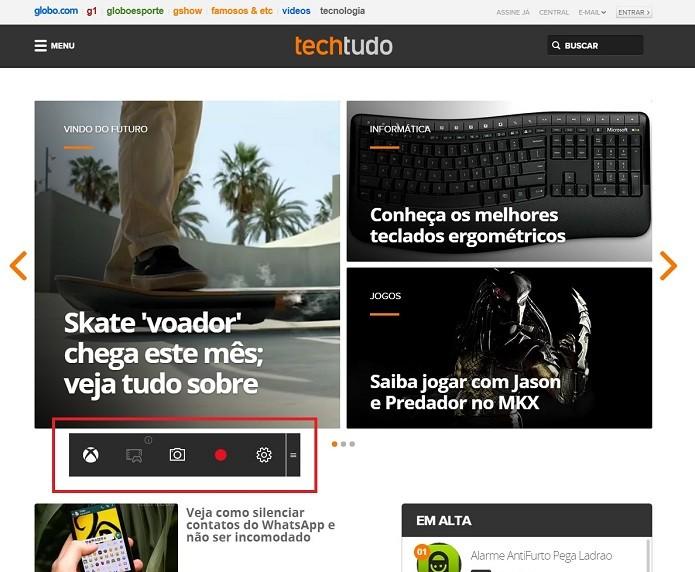 Função Game DVR no Windows 10 (Foto: Felipe Alencar/TechTudo)