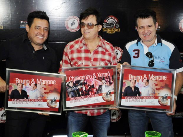 Bruno, Chitãozinho e Marrone durante lançamento da 58ª Festa do Peão de Barretos (Foto: Vanderlei Ribeiro/Phábrica de Ideias)