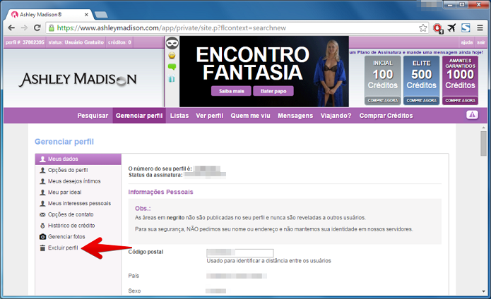site ashley madison excluir conta