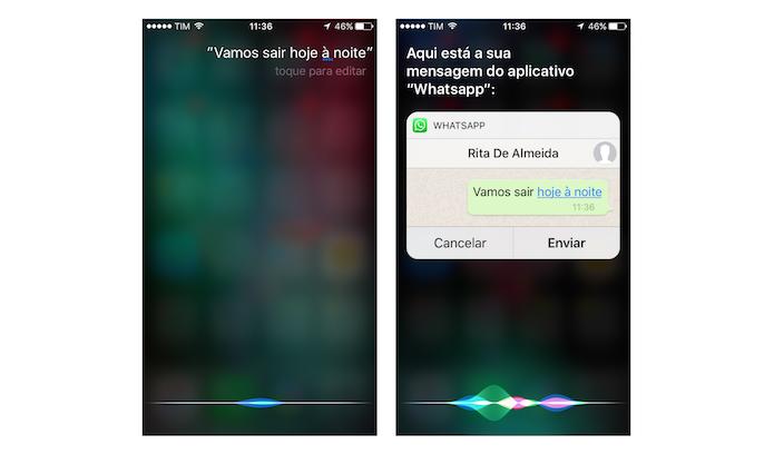 Definição de mensagem enviada para o WhatsApp através da Siri do iOS 10 (Foto: Reprodução/Marvin Costa)