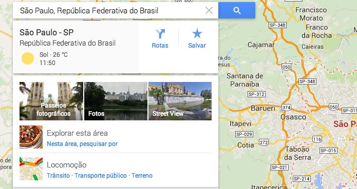 Locais pesquisados no Maps passam a mostrar temperatura (Foto: Reprodução/Paulo Alves)
