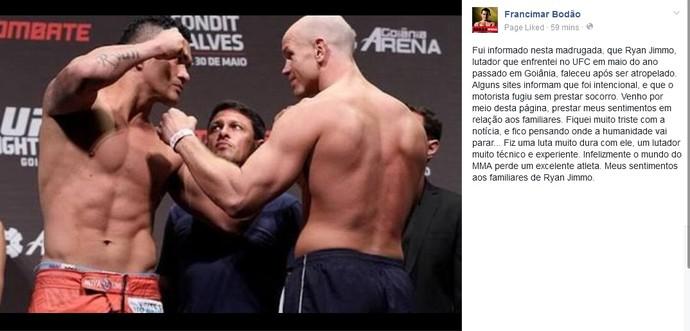 Francimar Bodão se pronuncia sobre morte de Ryan Jimmo (Foto: Reprodução/Facebook)
