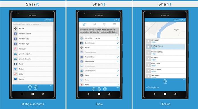 Sharit oferece compartilhamento em diferentes redes sociais ao mesmo tempo (Foto: Divulgação/WIndows Phone Store)