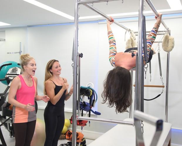 Glenda manda bem durante exercício (Foto: TV Globo/Carol Caminha)