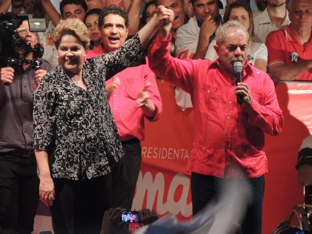 Lula e Dilma em comício no Recife (Foto: Luna Markman/G1)