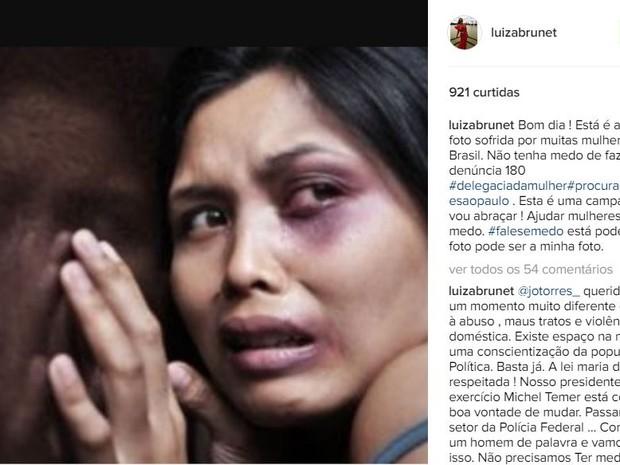 Luiza Brunet fez post sobre violência contra a mulher  (Foto: Reprodução / Instagram)