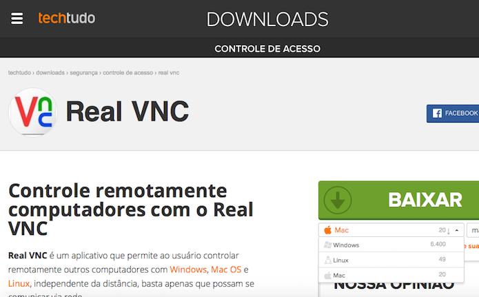 Baixando o Real VNC no TechTudo Downloads (Foto: Reprodução/Edivaldo Brito)