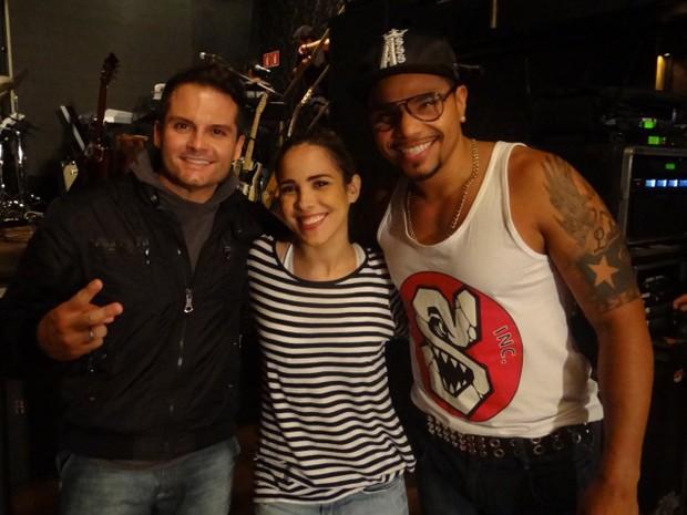 O produtor Mister Jam, Wanessa e o cantor Naldo, nos ensaios para o DVD (Foto: Divulgação)