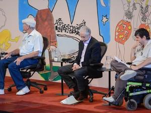 O jornalista Bernardo Kucinski, o economista Pérsio Arida e o escritor Marcelo Rubens Paiva (Foto: Flavio Moraes/G1)