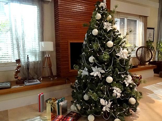 ideias para decorar arvore de natal branca : ideias para decorar arvore de natal branca:árvore de natal de Maria Inês ganhou bolas e folhas secas brancas