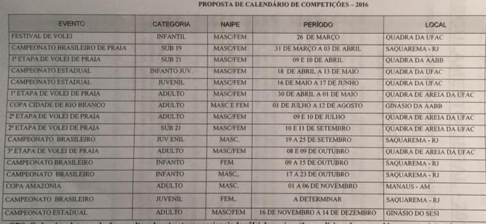 Calendário 2016 da Federação Acreana de Vôlei  (Foto: FEAV/Divulgação)