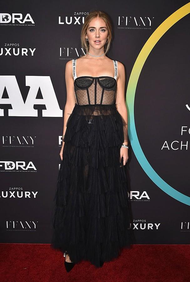 Chiara Ferragni  com um vestido da Dior (Foto: Getty Images)