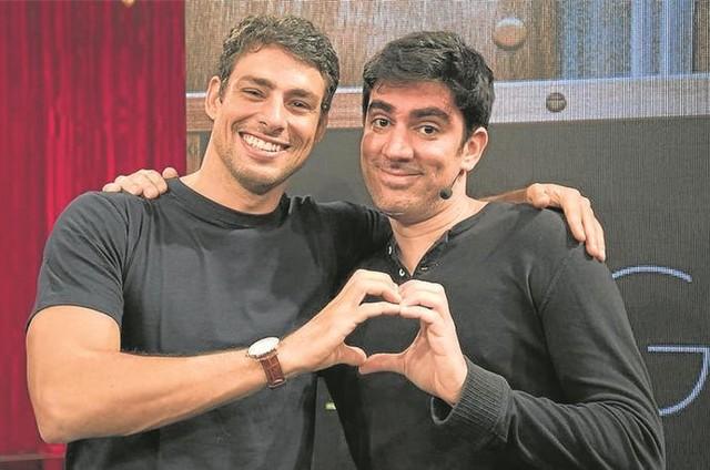 Cauã Reymond e Marcelo Adnet (Foto: Cesar Alves/TV Globo)