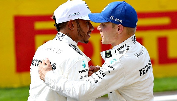 Lewis Hamilton e Valtteri Bottas na Bélgica