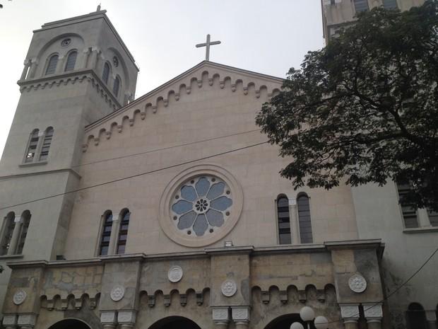 Parte superior da Catedral de Sant'Anna já está restaurada (Foto: Maiara Barbosa/G1)