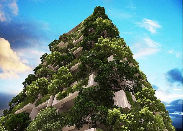 Varandas terão árvores que cobrem toda a fachada (Foto: Divulgação)