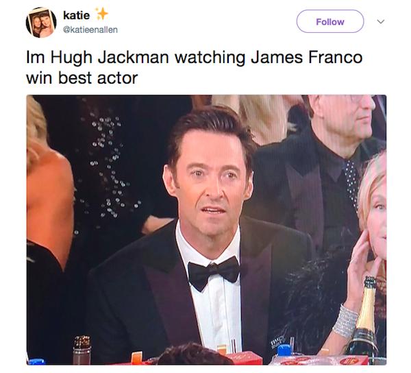 Uma piada com a reação de Hugh Jackman no Globo de Ouro 2018 (Foto: Twitter)