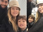 Luana Piovani posa com Pedro Scooby e com o filho Dom em Nova York