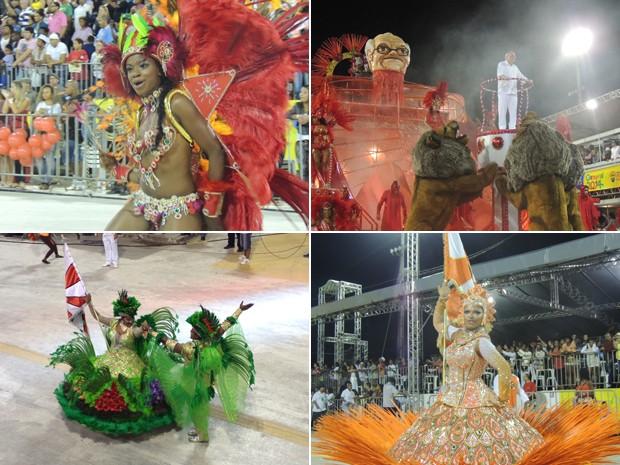 Cinco escolas desfilaram no segundo dia do carnaval de Porto Alegre (Foto: Montagem sobre fotos/Luiza Carneiro e Rafaella Fraga/G1)