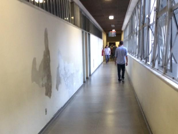Infiltração nas paredes do hospital (Foto: Lilian Quaino/G1)
