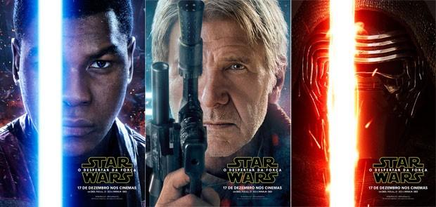 Finn, Han Solo e Kylo Ren estão nos pôsteres de 'Star wars: o despertar da Força' (Foto: Divulgação)