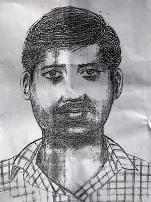 Polícia divulgou retrato-falado de suspeito de estupro coletivo na Índia (Foto: Divulgação/Polícia de Mumbai/AP)